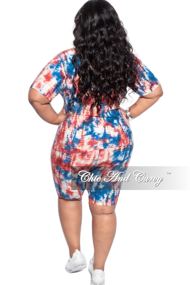 New Plus Size 2-Piece (T-Shirt & Bermuda Short) Set in Blue & Rust Tie Dye