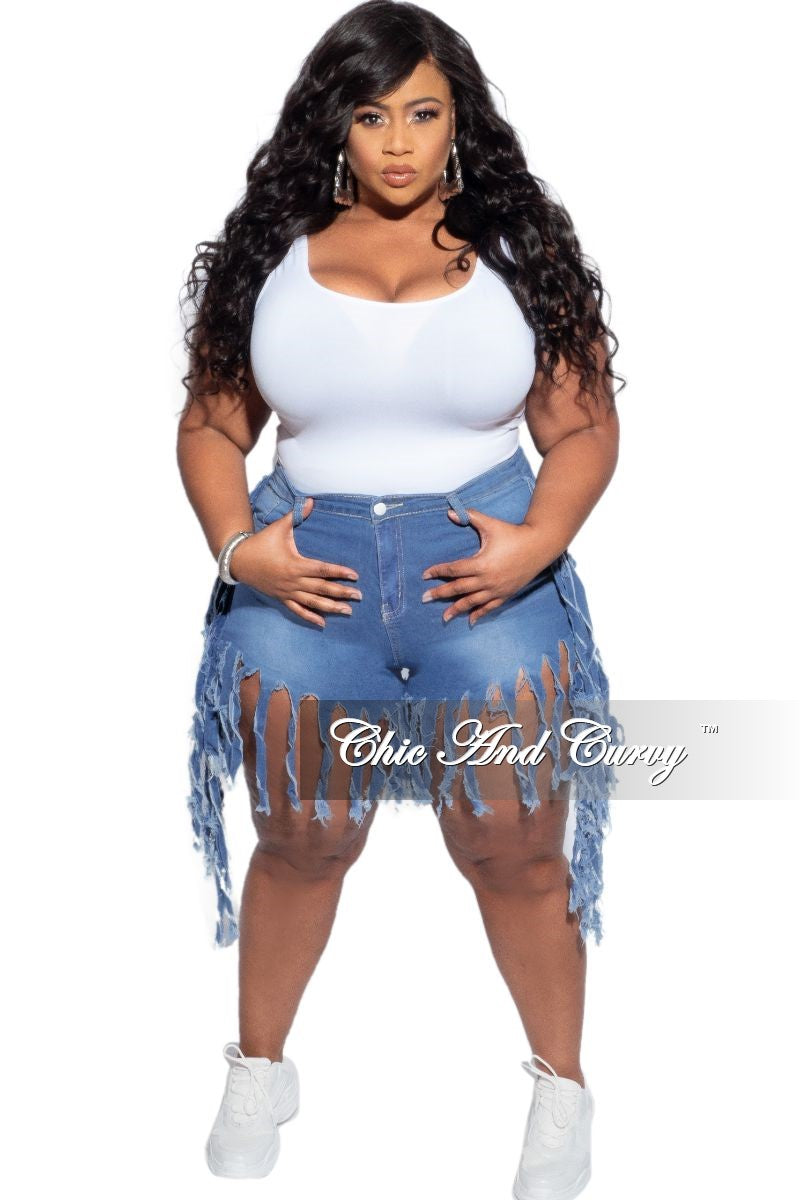Final Sale Plus Size Light Denim Fringe Shorts