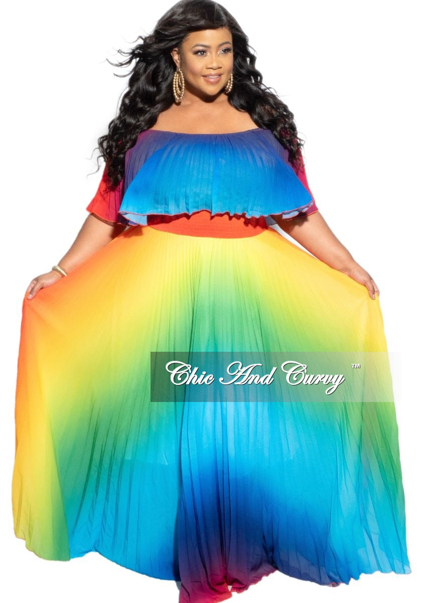 Final Sale Plus Size Strapless Chiffon Pleated Long Dress in a Rainbow Print