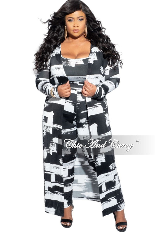 New Plus Size 3-Piece (Duster, Crop Top & Pants) in Black & White Print