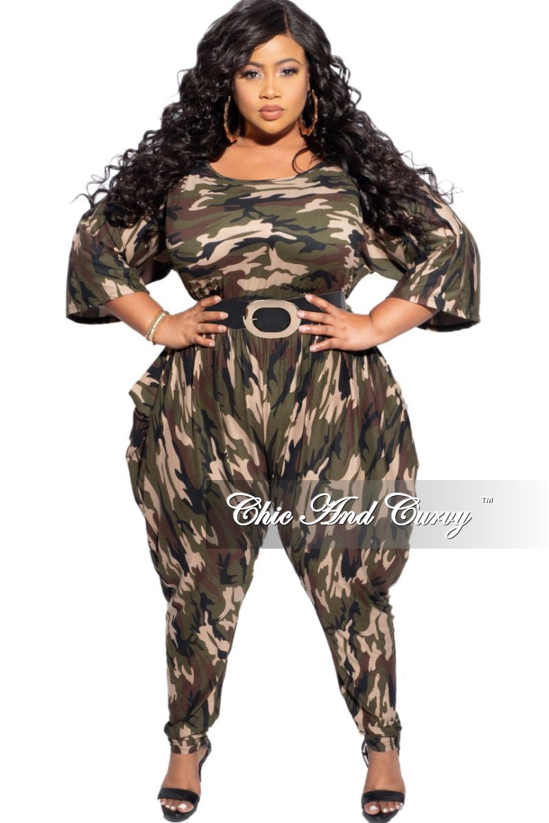New Plus Size Jumpsuit with Harem Effect in Camo Print