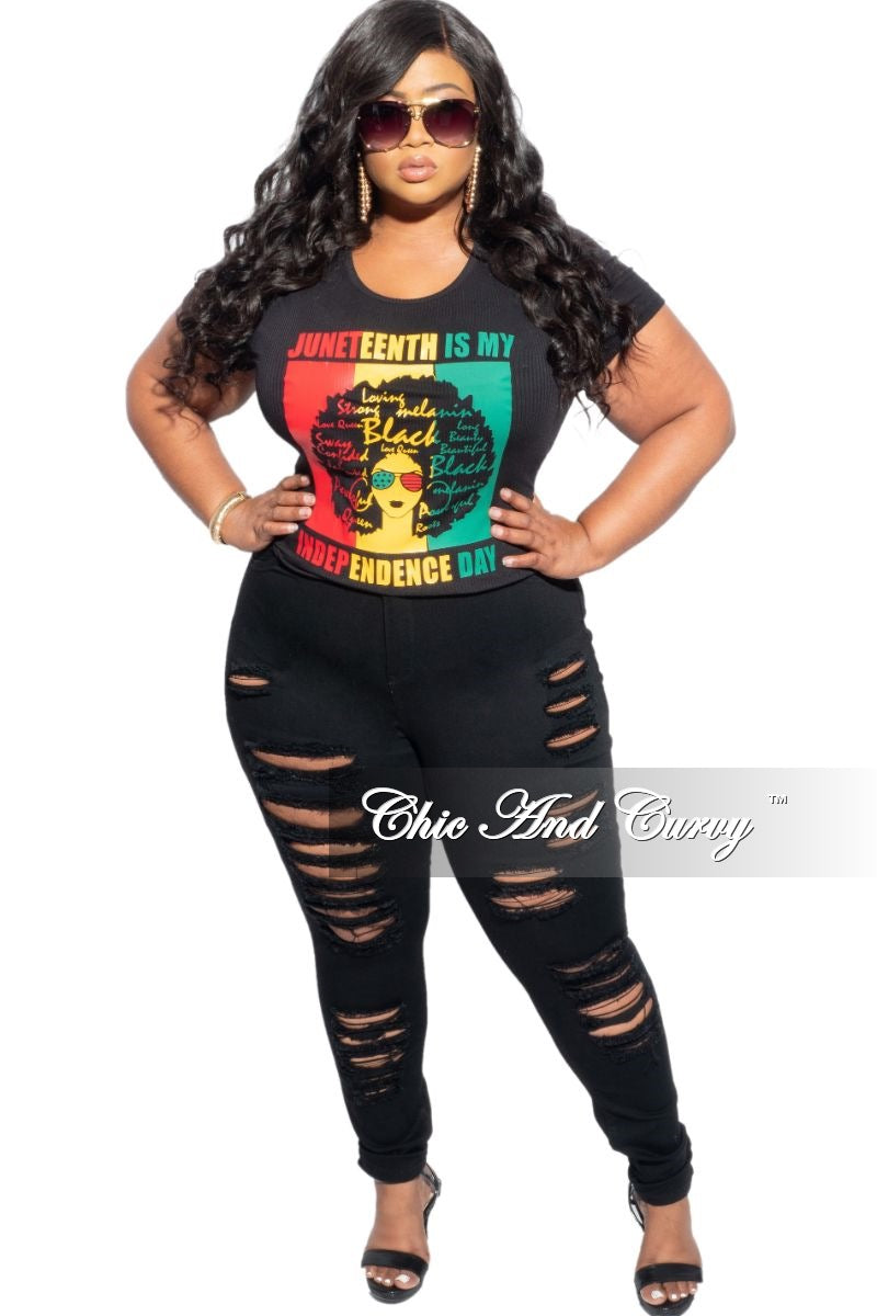 New Plus Size Short Sleeve Scoop Neck Ribbed Juneteenth Shirt