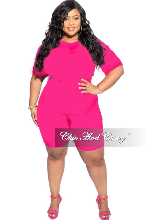 New Final Sale Plus Size 2-Piece (T-Shirt & Bermuda Short) Set in Fuchsia Pink