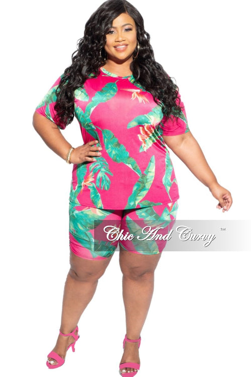 New Final Sale Plus Size 2-Piece (T-Shirt & Bermuda Short) Set in Fuchsia Pink & Green Print