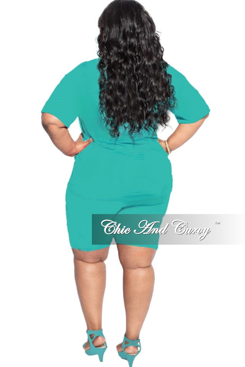 New Final Sale Plus Size 2-Piece (T-Shirt & Bermuda Short) Set in Turquoise