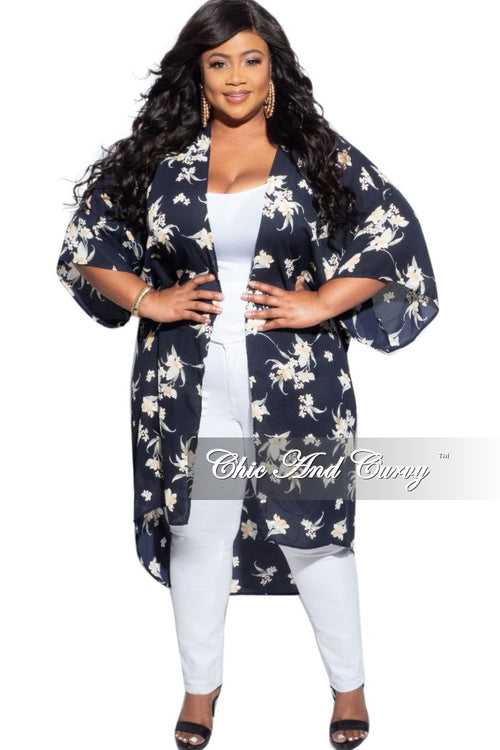 New Plus Size 3/4 Sleeve Duster with Navy Background and Neutral Floral Print
