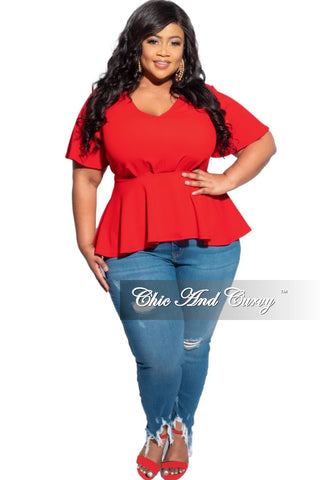Final Sale Plus Size Knee Cut Distressed Jeans in Medium Denim