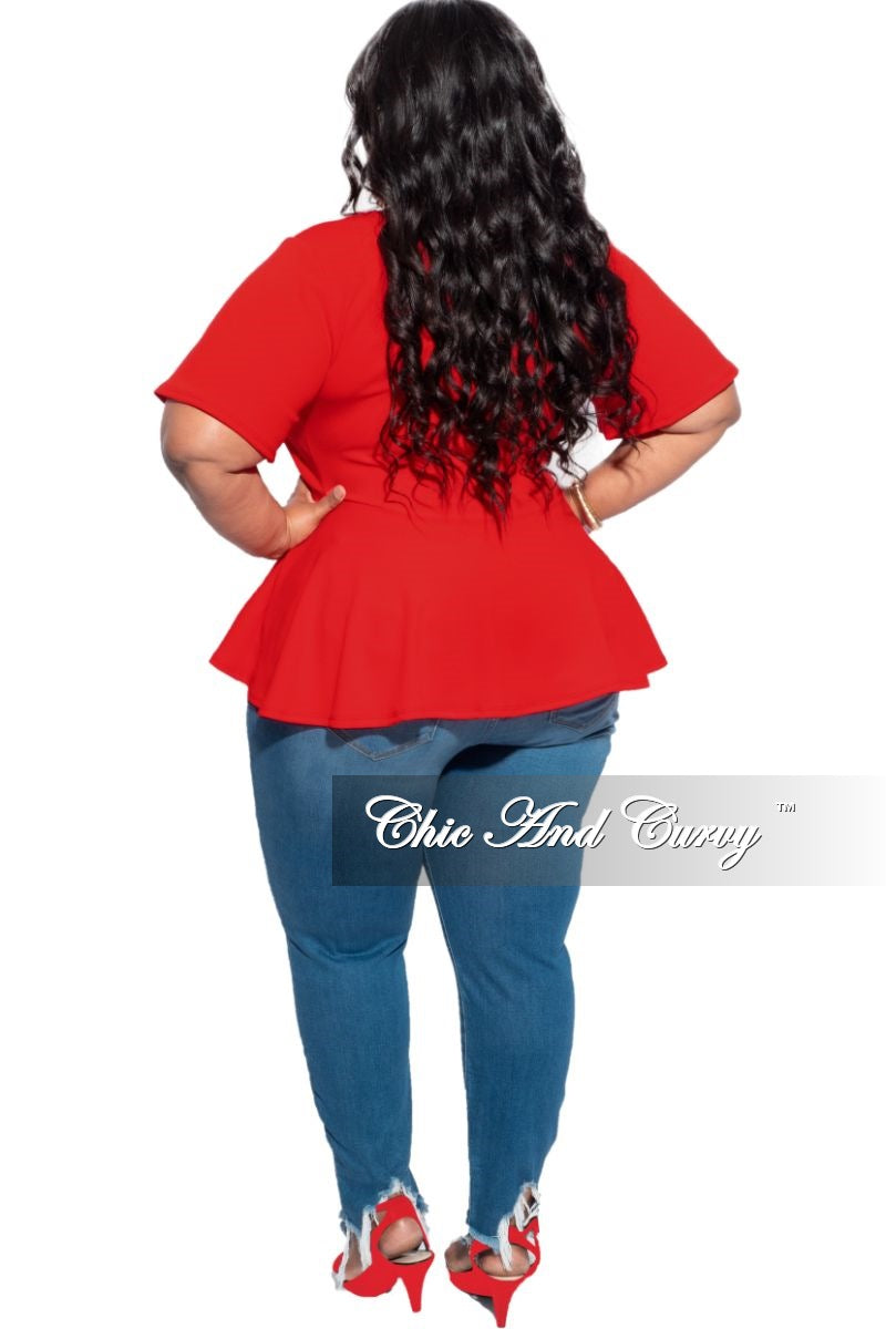 New Plus Size V-Neck Peplum Top in Red