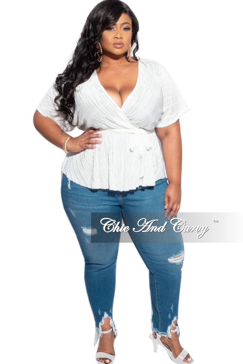 Final Sale Plus Size Shiny Pleated Belted Peplum Top in Ivory