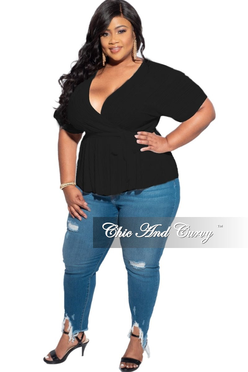 New Plus Size Shiny Pleated Belted Peplum Top in Black