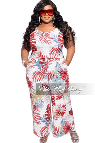 New Plus Size Reversible Side Ruffle Jumpsuit in Red Animal Print