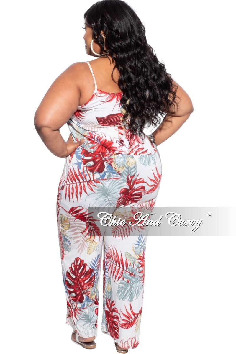 New Plus Size Jumpsuit with Spaghetti Straps Multi-Color Palm Print