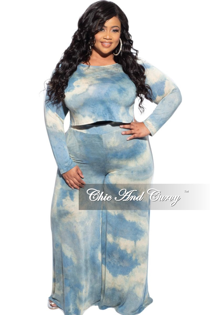 New Plus Size 2-Piece Top and Pants Set in Blue & Yellow Tie Dye
