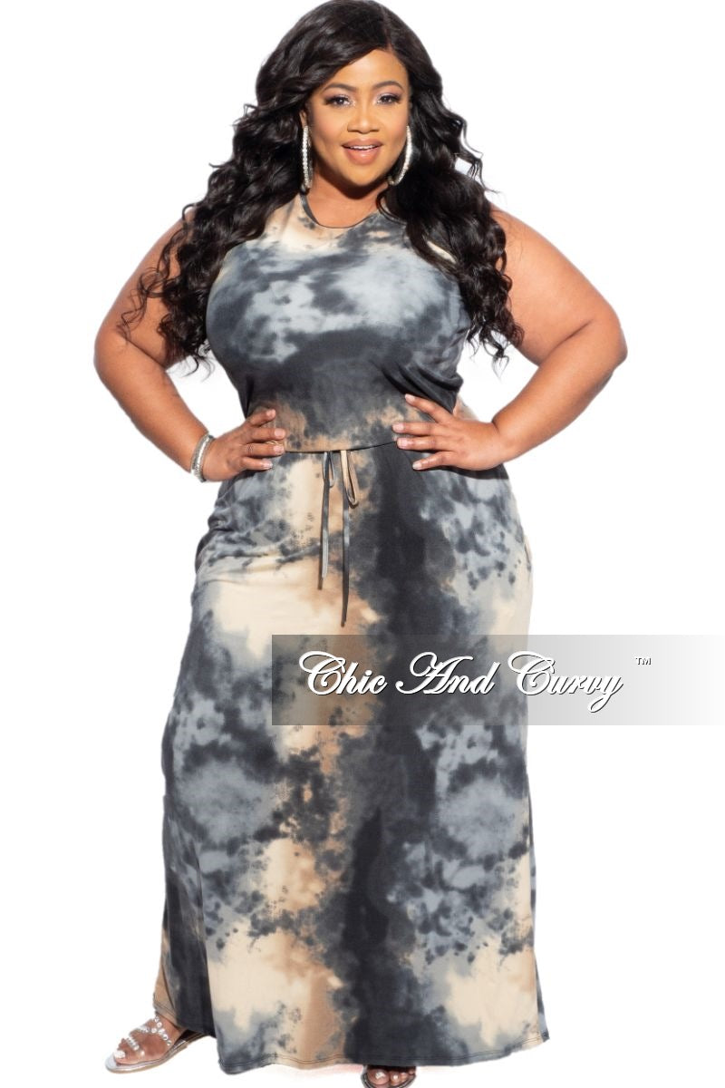 New Plus Size Sleeveless Maxi Dress in Earth Tones