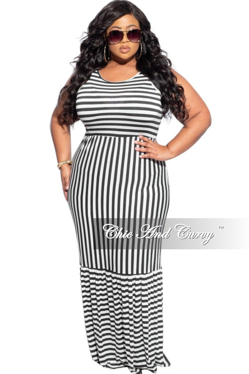 FInal Sale Plus Size Sleeveless Maxi Dress in Black & White Stripes