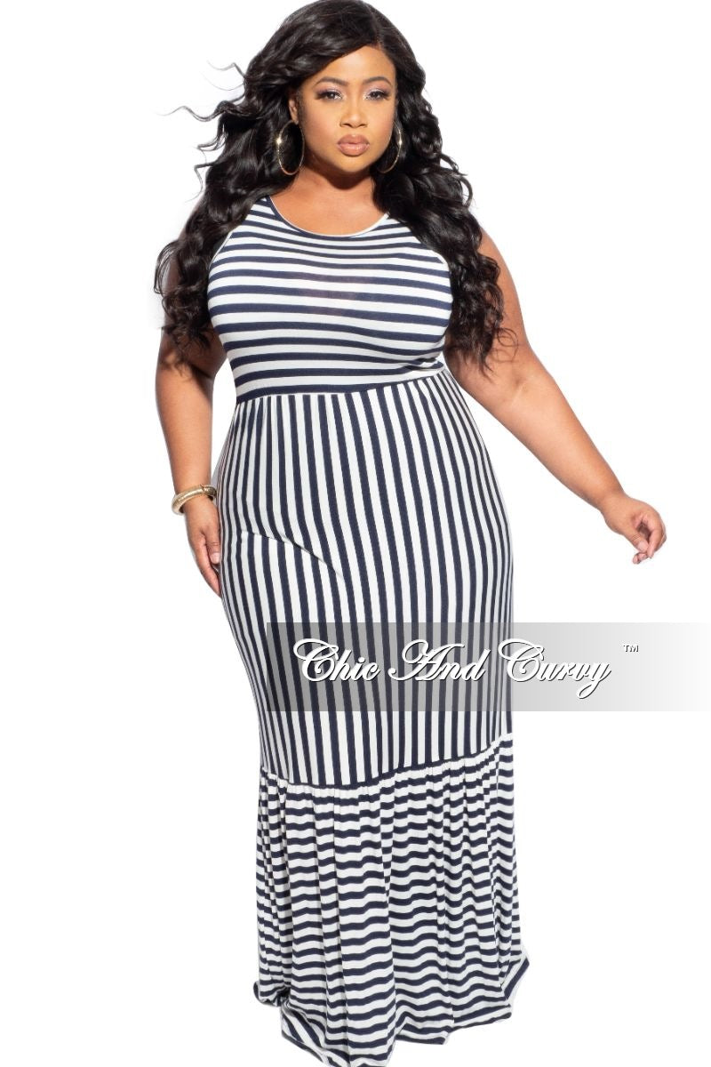 Final Sale Plus Size Sleeveless Maxi Dress in Navy & White Stripes