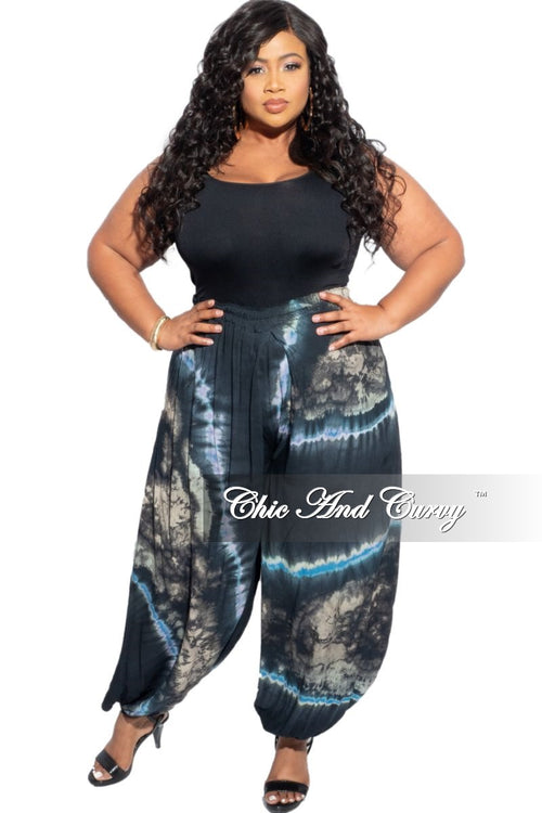 New Plus Size Harem Pants in Blue Tie Dye Print