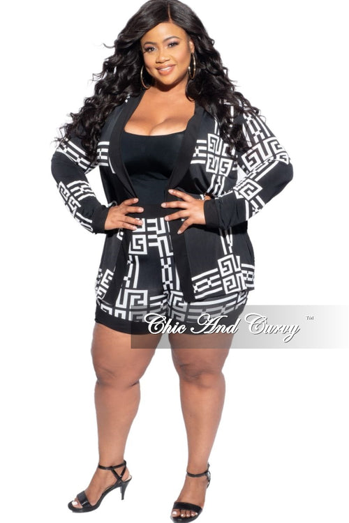 New Plus Size 2-Piece Set Cardigan & Shorts in Black & White