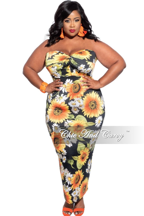 New Plus Size Strapless Bodycon Dress with Black Floral Print