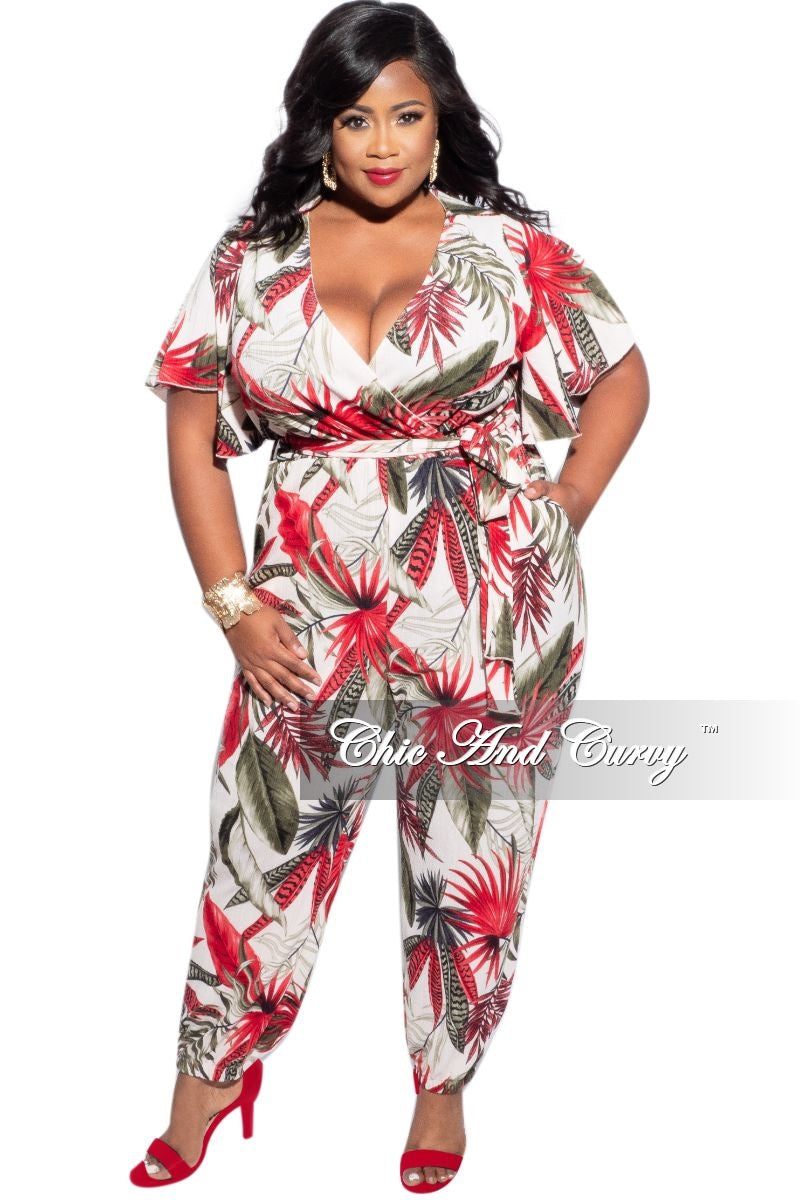 Final Sale Plus Size Faux Wrap Pocket Jumpsuit in Ivory Tropical Print