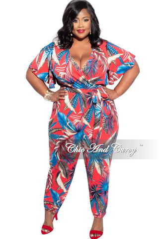 New Plus Size Strapless Smocked Harem Jumpsuit in Pink and Blue Tie Dye