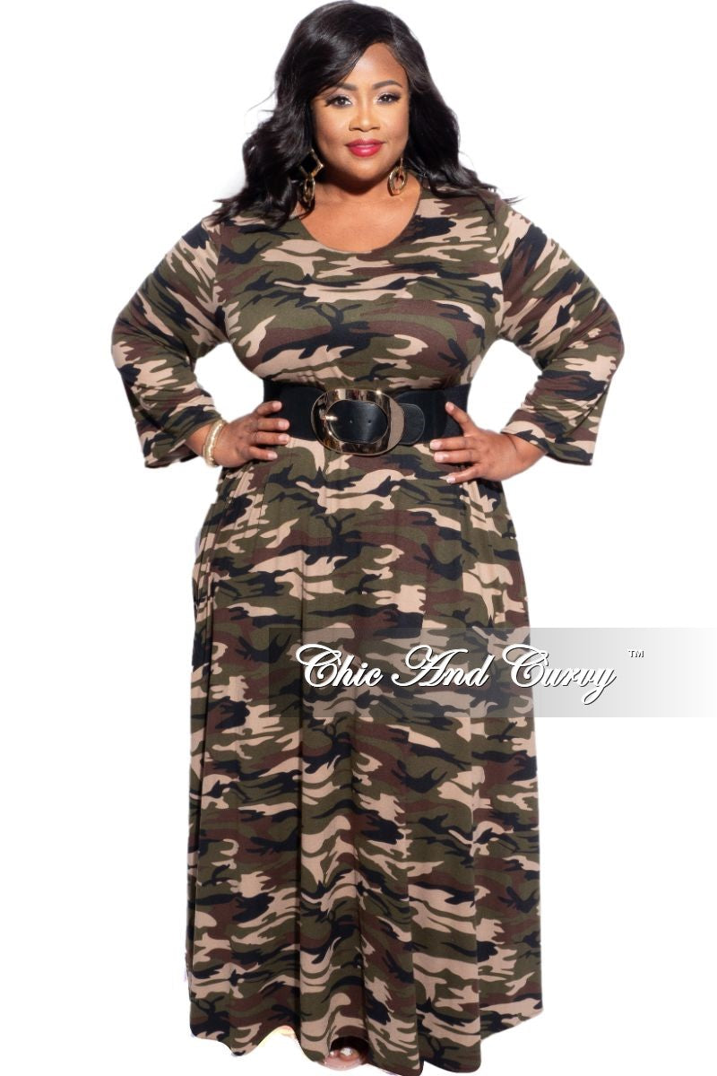 New Plus Size Oversized Dress in Camouflage