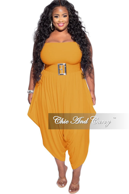 New Plus Size Strapless Smocked Harem Jumpsuit in Mustard