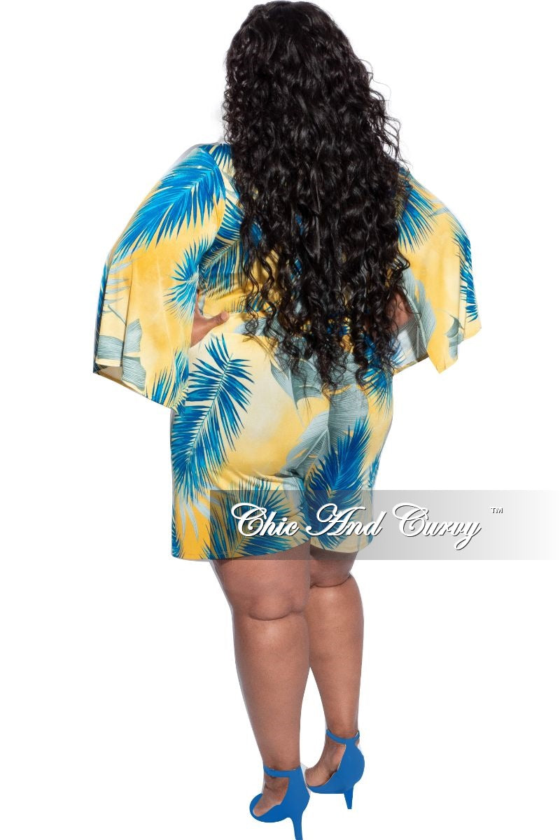 New Plus Size Romper with Bell Sleeves in Yellow & Blue Print