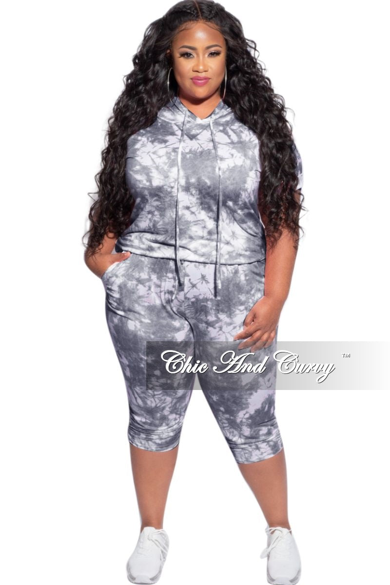 New Plus Size 2-Piece Jogger Set in Grey & White Cloud Print