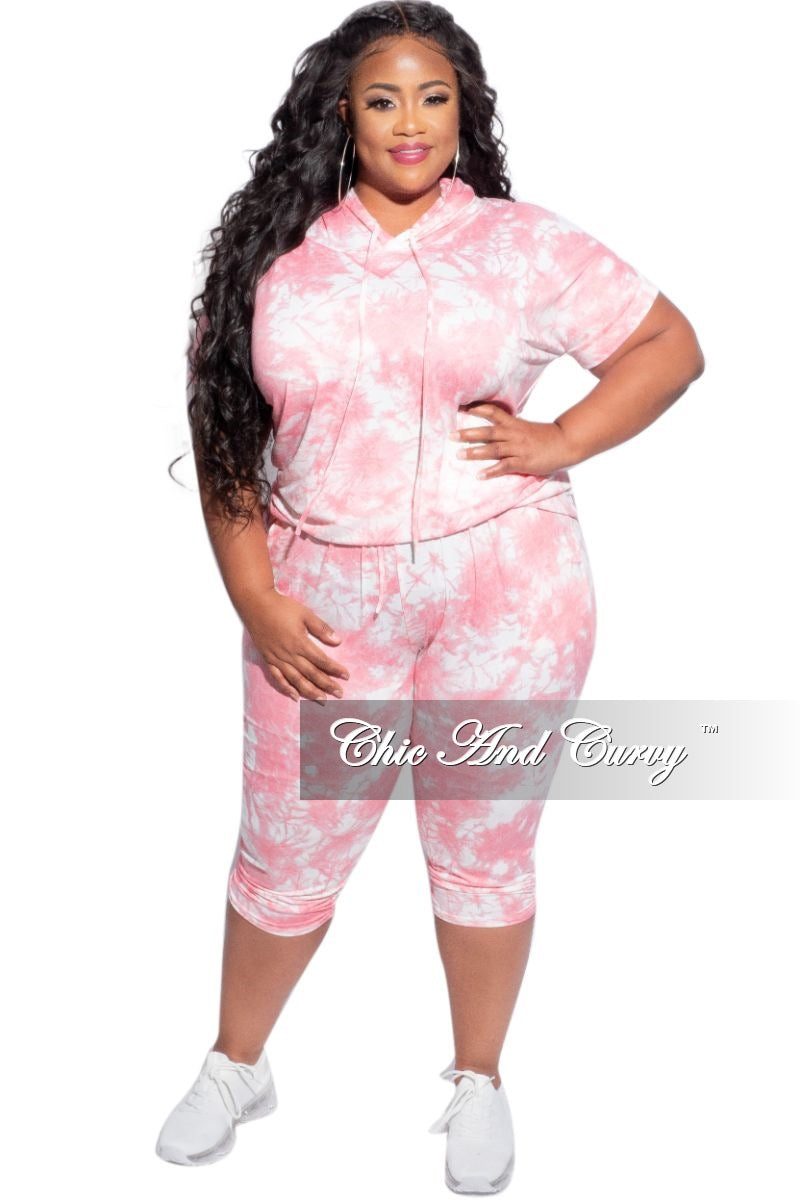 New Plus Size 2-Piece Jogger Set in Pink & White Cloud Print
