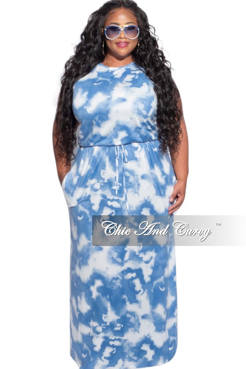 New Plus Size Maxi Dress in Blue & White Cloud Print