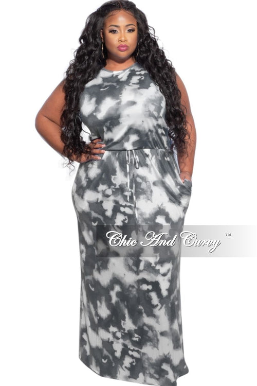 New Plus Size Maxi Dress in Grey & White Cloud Print