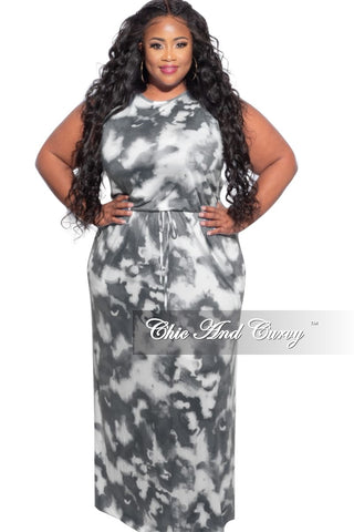 New Plus Size Long Pocket Dress with 3/4 Sleeve and Tie in Pink Navy and White Tie Dye Print