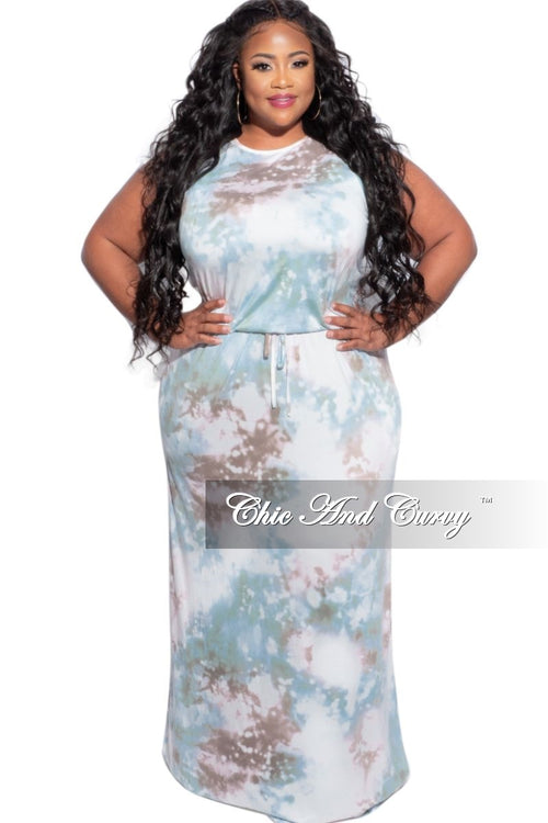 New Plus Size Maxi Dress in Multi-Color Cloud Print