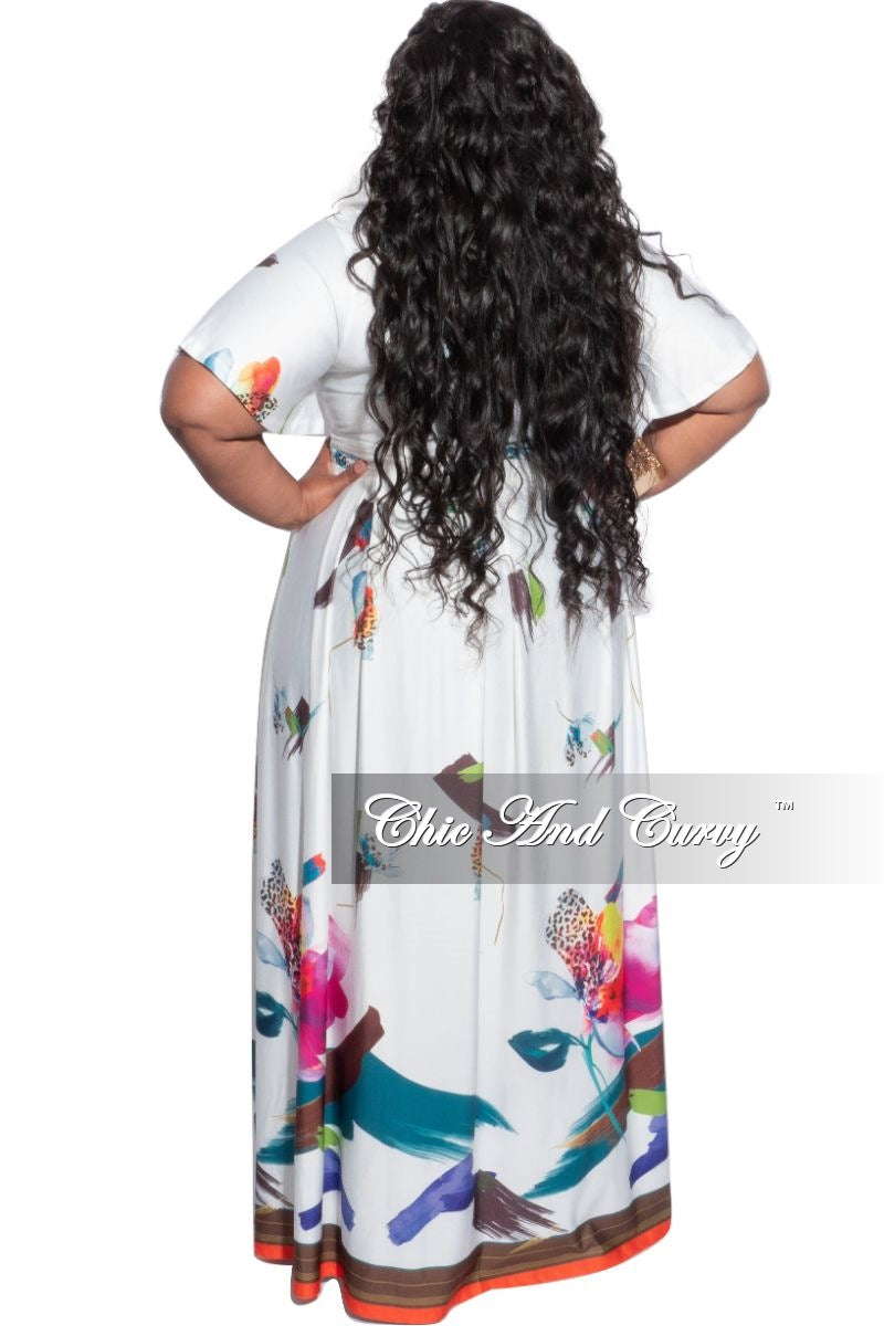 Final Sale Plus Size 2-Piece (Faux Wrap Crop Tie Top and Skirt) Set in White Multi Color Floral Print