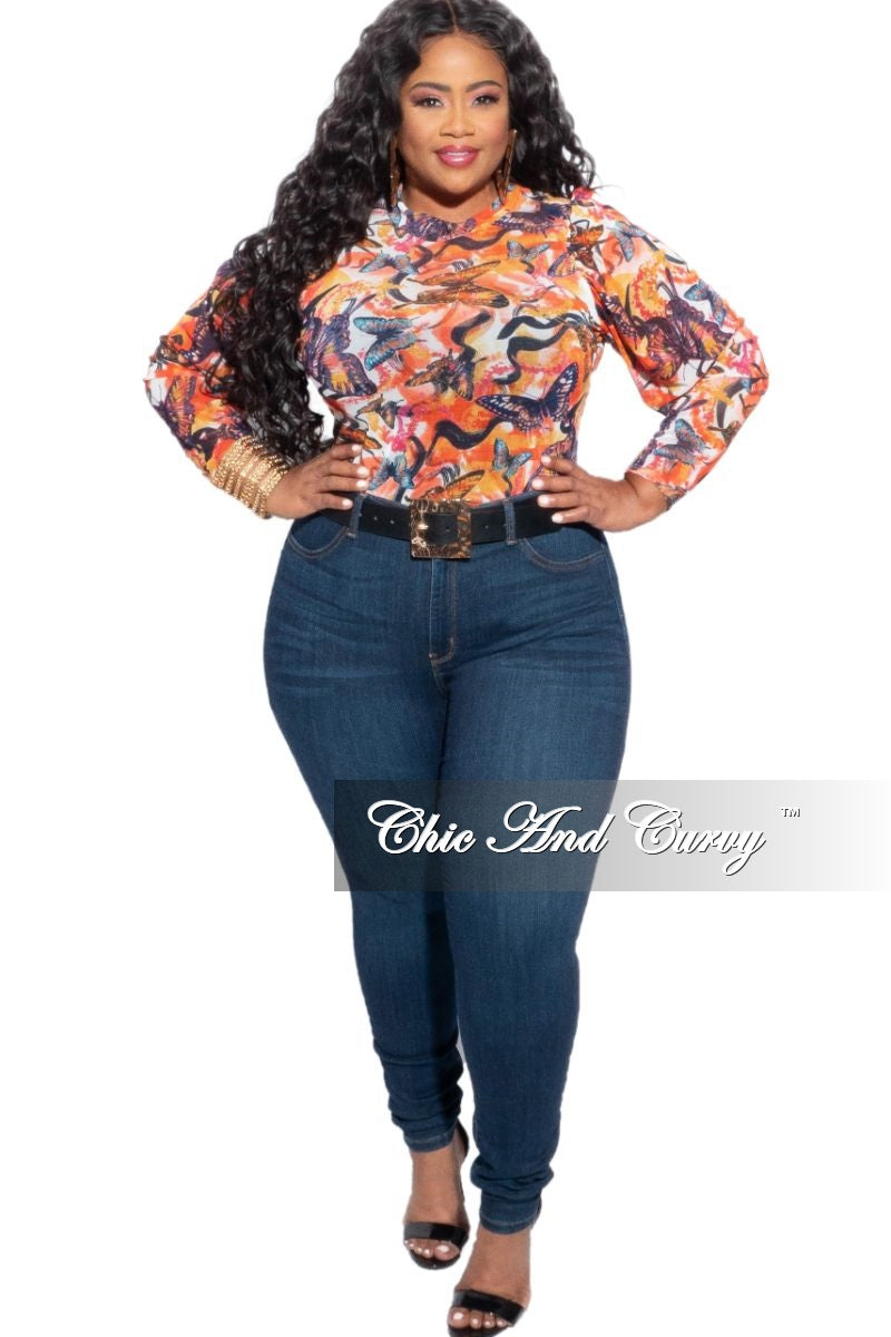 Final Sale Plus Size Mesh Bodysuit in Multi-Color