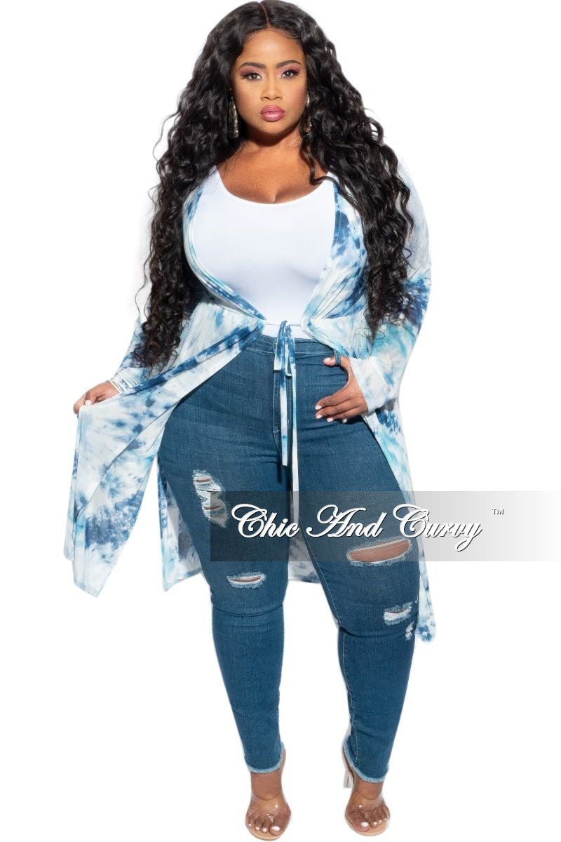 Final Sale Plus Size Mesh Duster in Blue Tie Dye