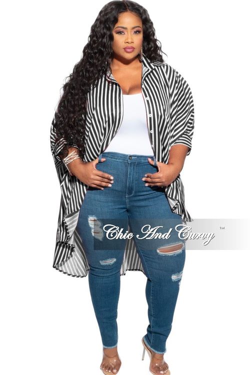 Final Sale Plus Size Denim Jeans with Light Distressing in Medium Denim Blue