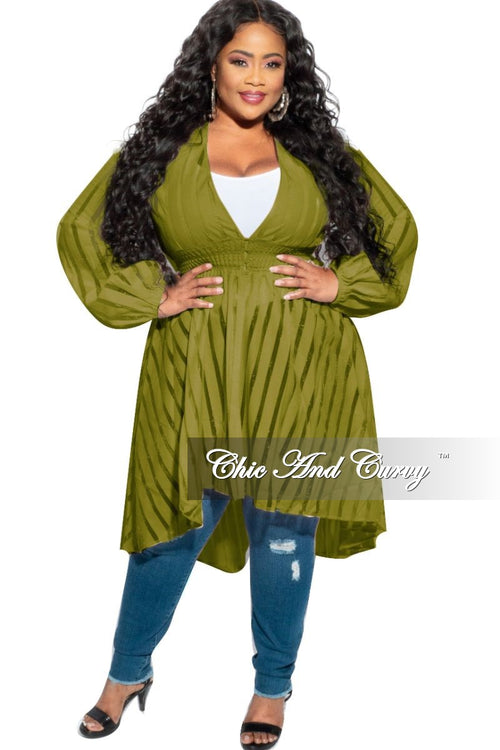 Final Sale Plus Size Sheer Button High-Low Duster in Olive