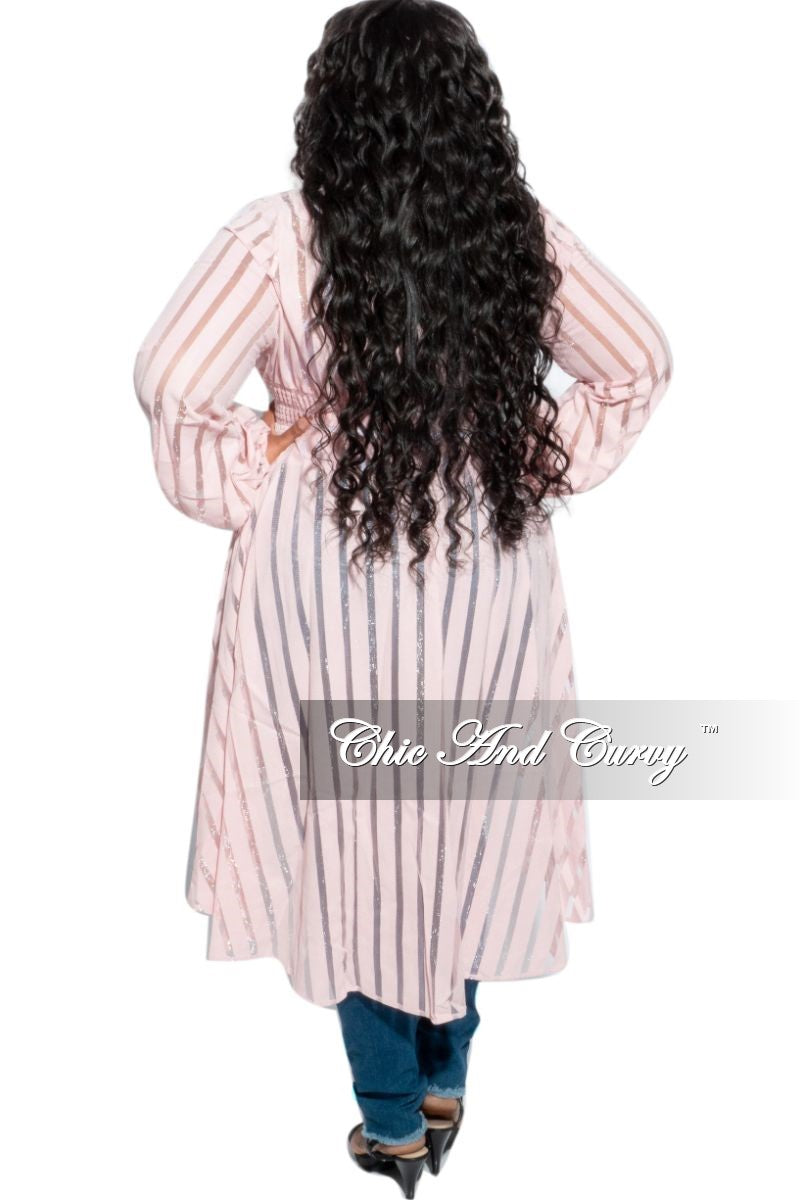 Final Sale Plus Size Sheer Button High-Low Duster in Pastel Pink