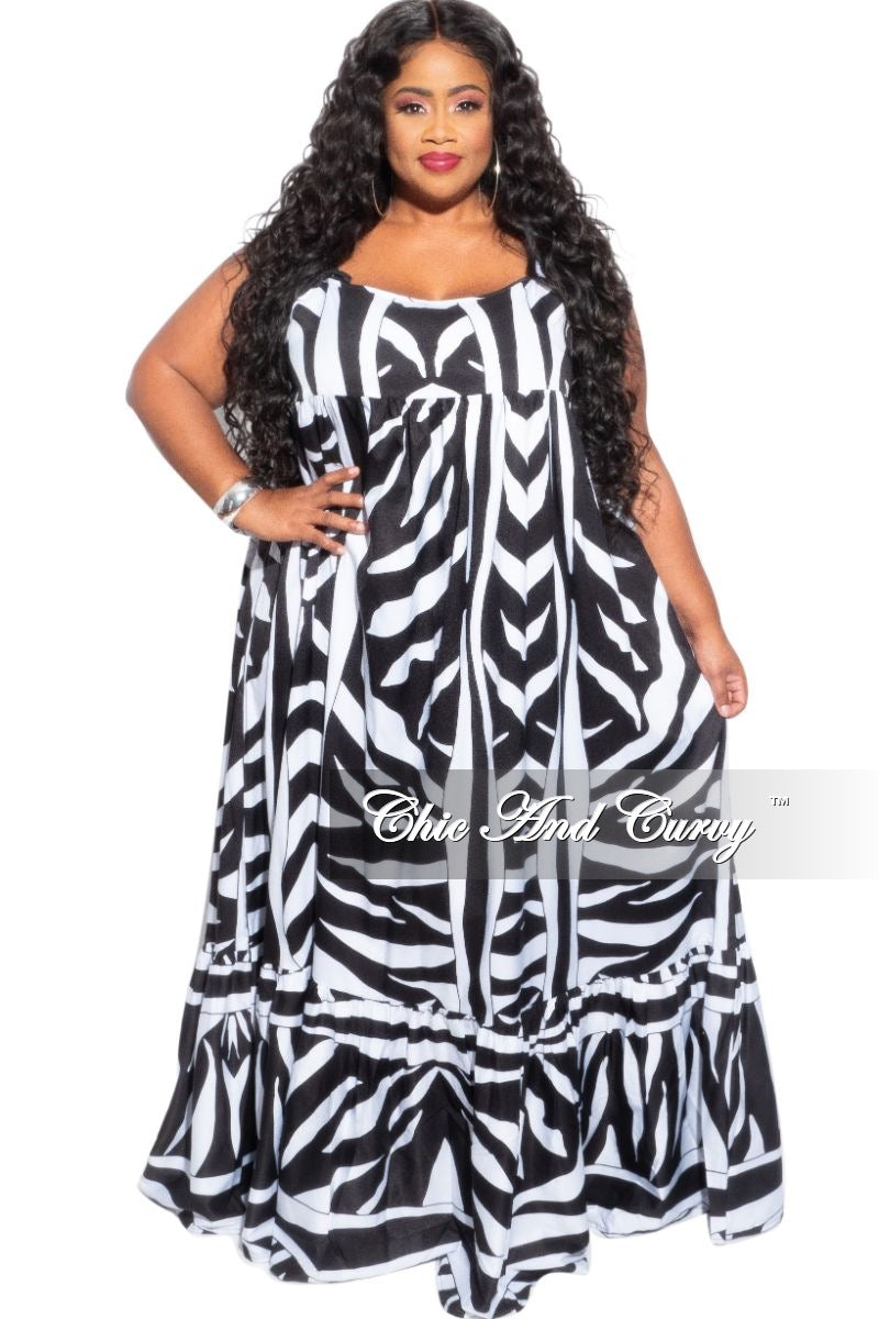 Final Sale Plus Size Spaghetti Strap Maxi Dress in Black & White Zebra Print