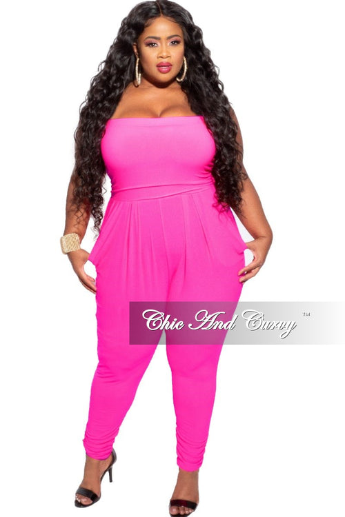 New Plus Size Strapless Harem Jumpsuit in Neon Pink