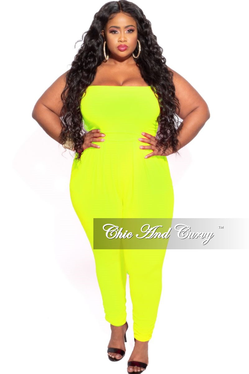 New Plus Size Strapless Harem Jumpsuit in Neon Yellow