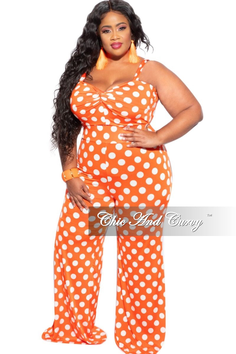 Final Sale Plus Size Jumpsuit in Orange with White Polka Dots