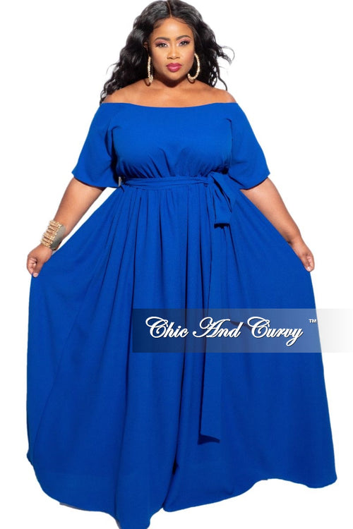 New Plus Size Off The Shoulder Dress in Royal Blue