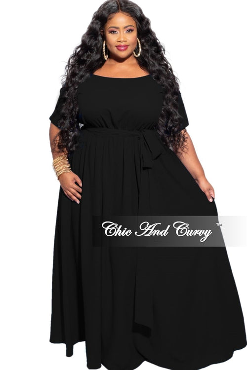 New Plus Size Off The Shoulder Dress in Black