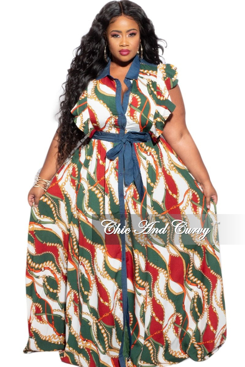 New Plus Size Tie Maxi Dress in Wine & Green Chain Print/Denim