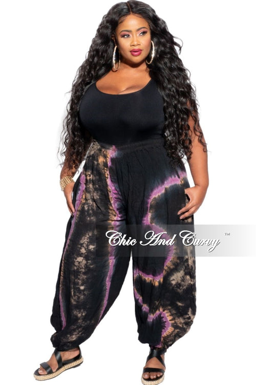 New Plus Size Harem Pants in Purple Tie Dye Print