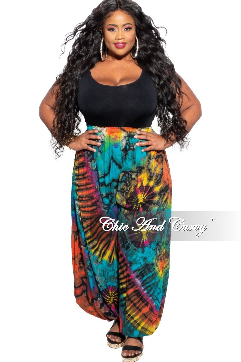 New Plus Size Harem Pants in Black Rainbow Tie Dye