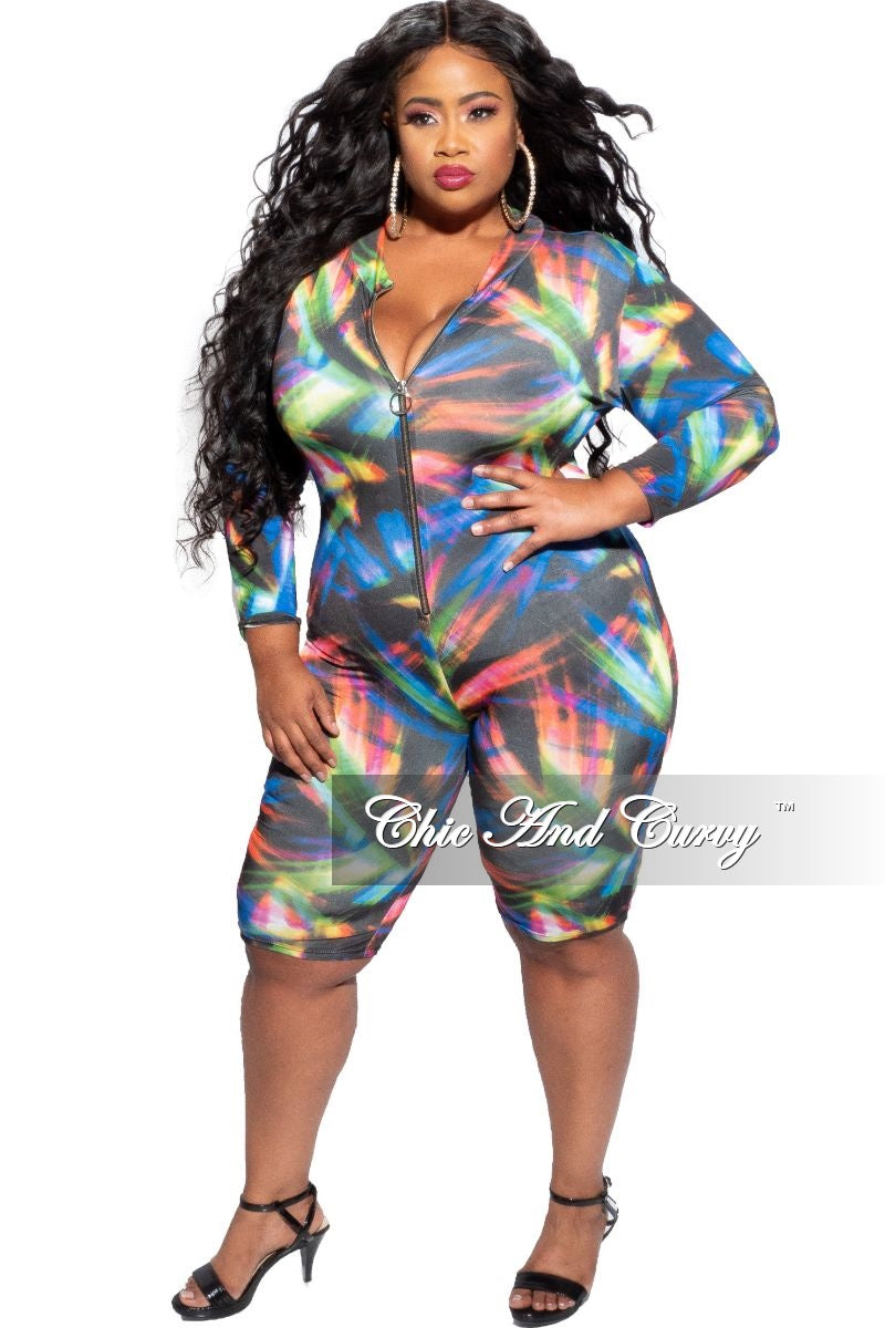 Final Sale Plus Size Romper in Multi-Color Light Print